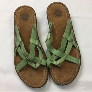 UGG green leather Lanni sandals size 10